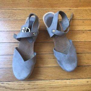 Anthropologie Sanita leather and wood clogs